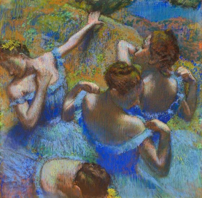 Edgar Degas - Ballerine in tulle blu