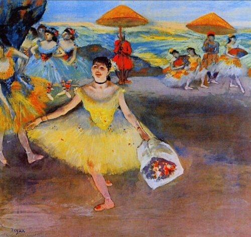 Edgar Degas - Ballerina si inchina con un bouquet