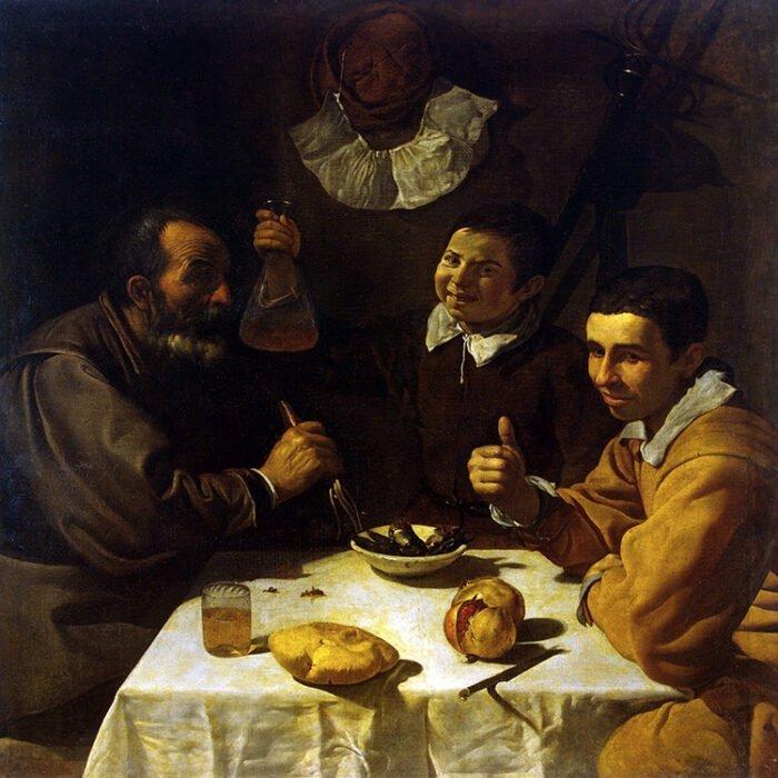 Diego Velázquez - Tre uomini a tavola