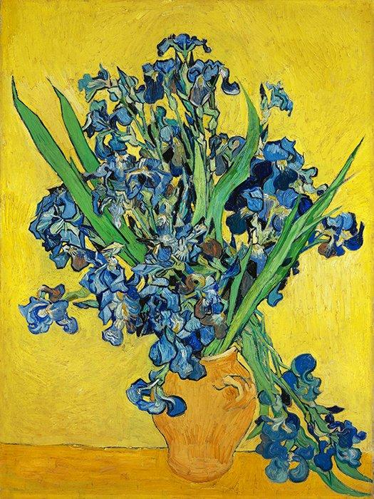 Vincent Van Gogh - Vaso di iris blu e verde fondo giallo