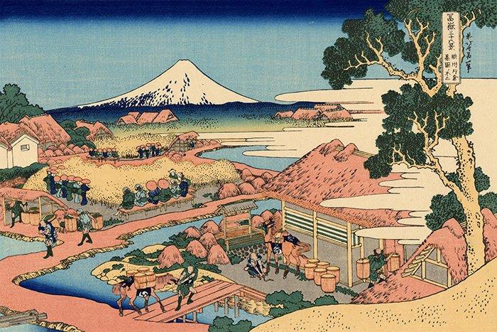 Katsushika Hokusai - La piantagione di tè di Katakura nella provincia di Suruga
