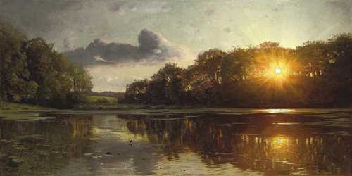 Peder Monsted - Tramonto oltre il lago