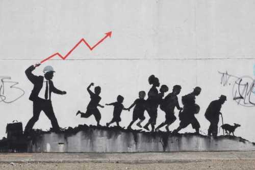 Banksy - Uomo con fulmine rosso