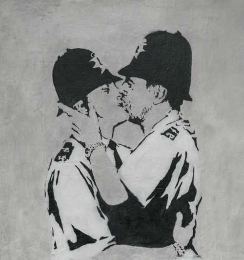 Banksy - Bacio tra poliziotti