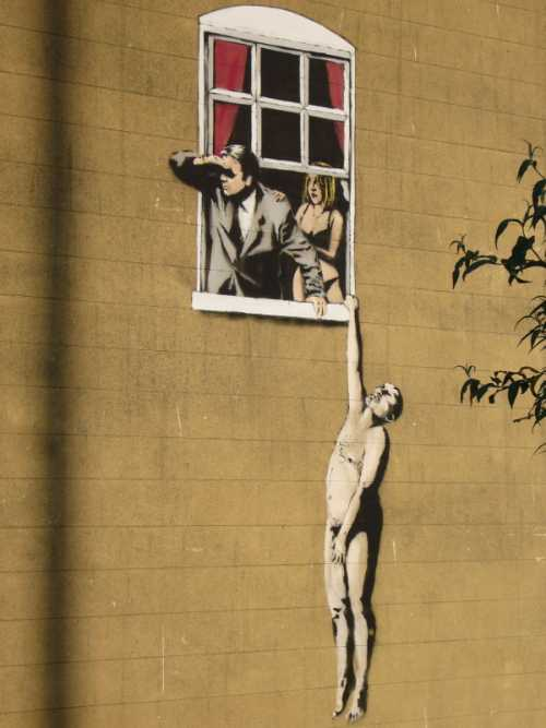 Banksy - Amanti alla finestra