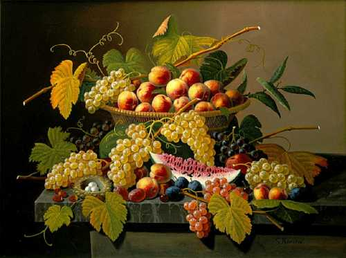 Severin_Roesen -Still life with a basket of fruit