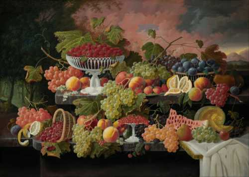 Severin Roesen - Two tiered still life with fruit and sunset landscape
