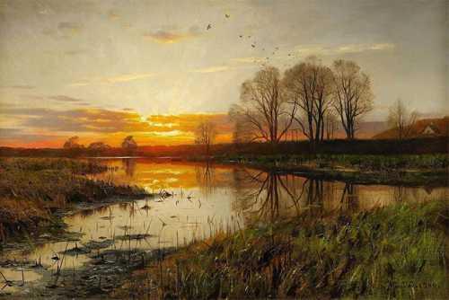 Peder Mork Monsted - Paesaggio sul lago
