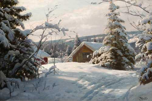 Peder Mork Monsted - Paesaggio invernale alla luce del sole