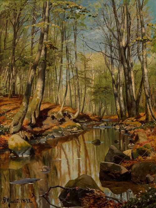 Peder Mork Monsted - Paesaggio fluviale nel bosco