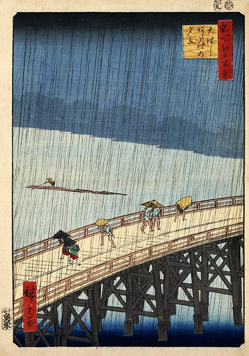 Utagawa Hiroshige – Sudden shower over Shin Ōhashi bridge and Atake
