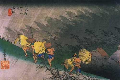 Utagawa Hiroshige – Travellers surprised by sudden rain