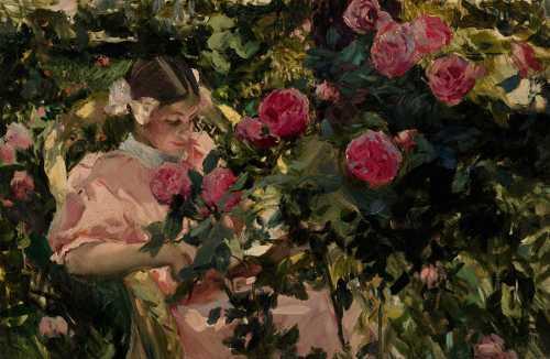 Joaquin Sorolla - Elena entre rosas
