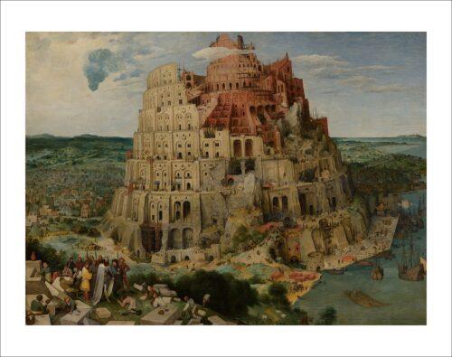 32054 Bruegel Pieter Torre di Babele con passepartout e testo