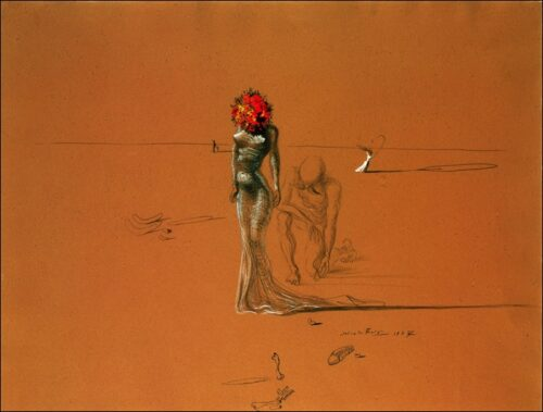 Salvador Dalí - Femal figure with head of flowers