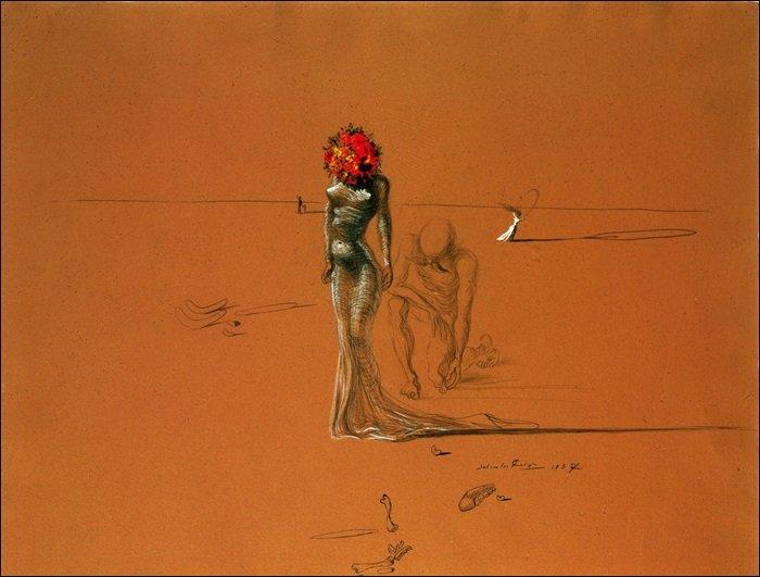 Salvador Dalí - Femal figure with head of flowers