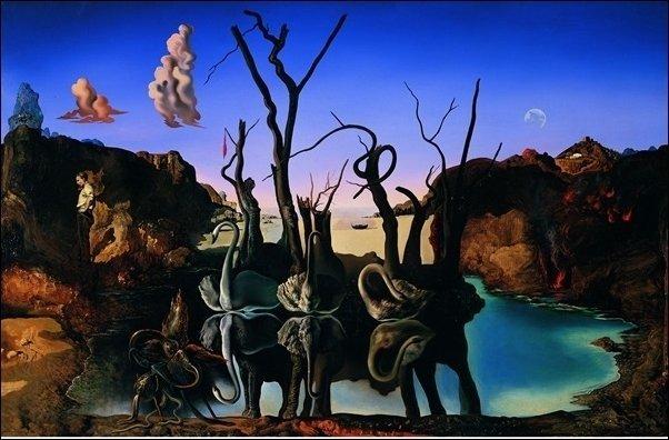 Salvador Dalí - Reflection of elephants (tela canvas)