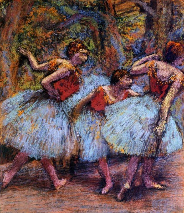 090208 Edgar Degas - Three Dancers Blue Skirts Red Blouses