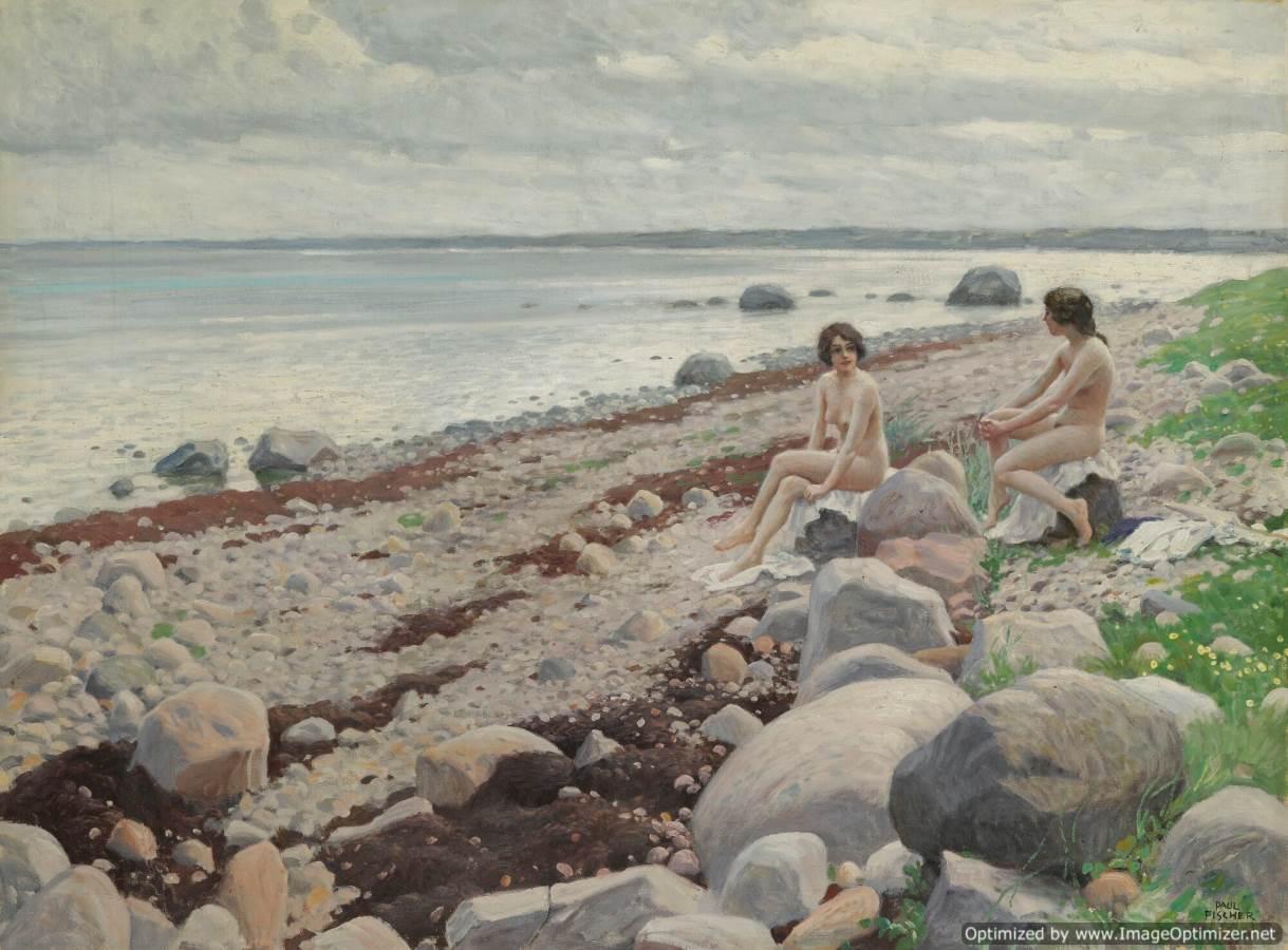 Paul-Gustave-Fischer-Bagnanti-in-spiaggia
