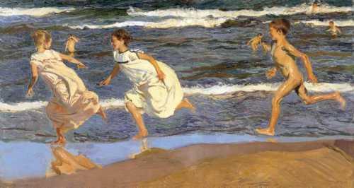 Joaquin Sorolla - Running along the beach