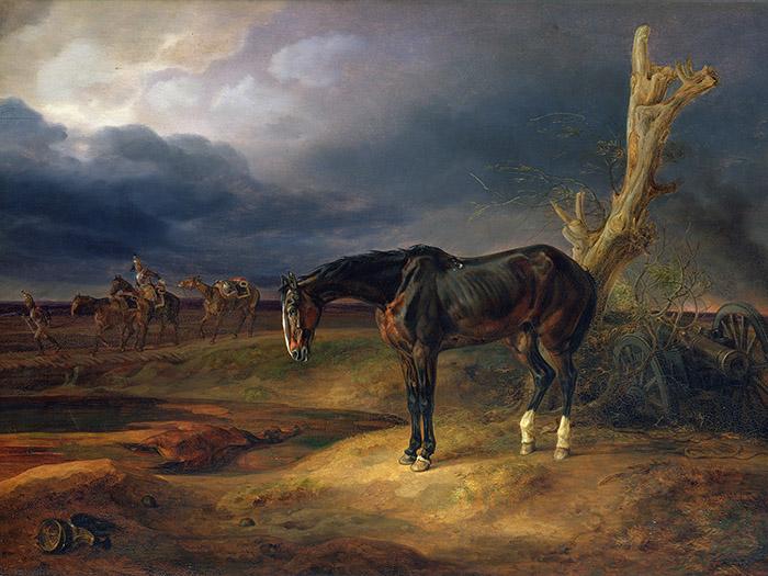 Albrecht Adam - Cavallo sul campo di battaglia a Moshaisk