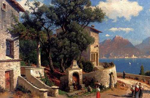 Carl Gustav Rodde - Villaggio Italiano sul lago