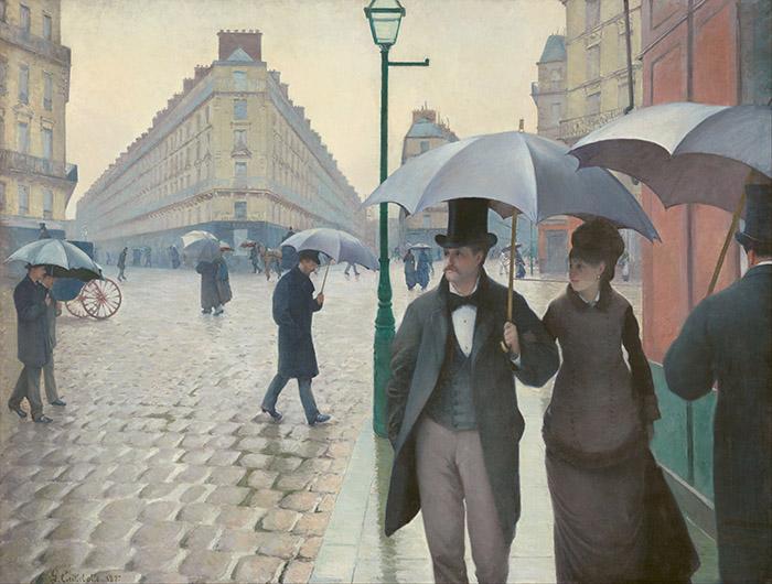 Gustave Caillebotte - Strada di Parigi nella pioggia
