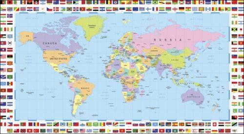 Mappa del mondo - Bandiere